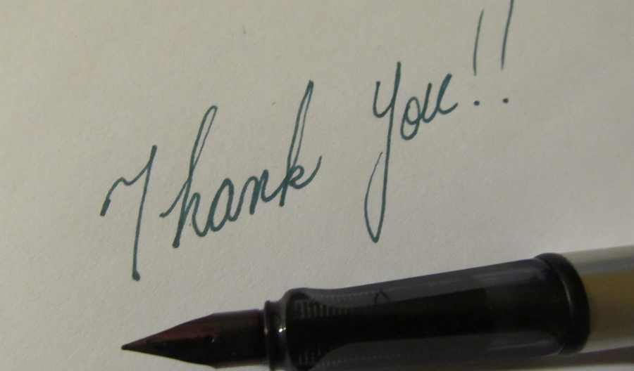 hand-written thank you note with fountain pen