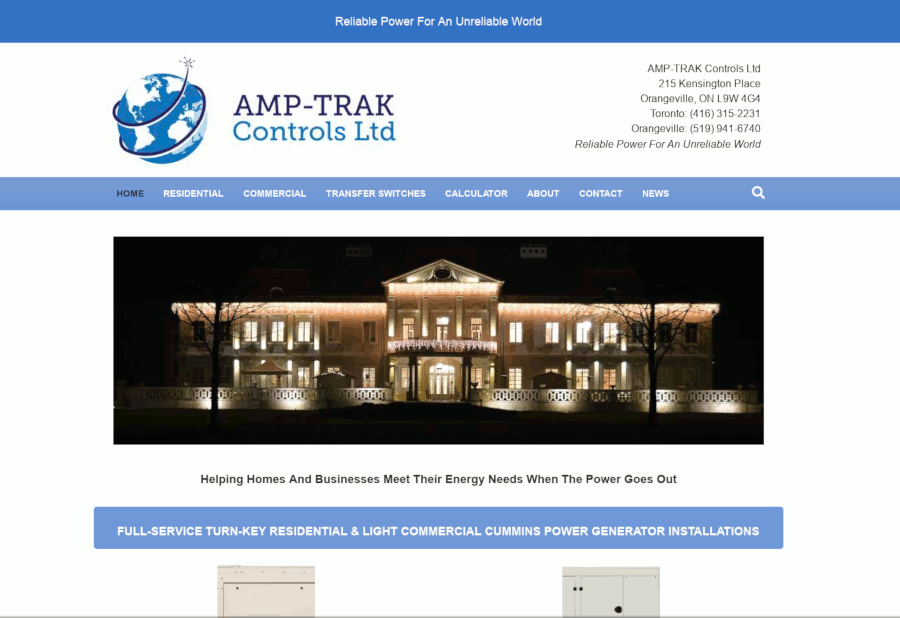 amp-trak website screenshot