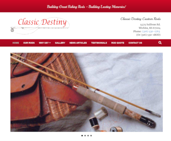classic destiny custom rods website screenshot