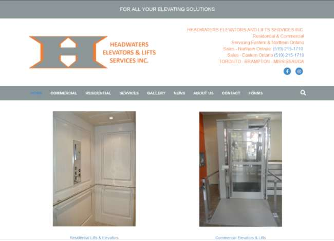 headwaters elevators website screenshot