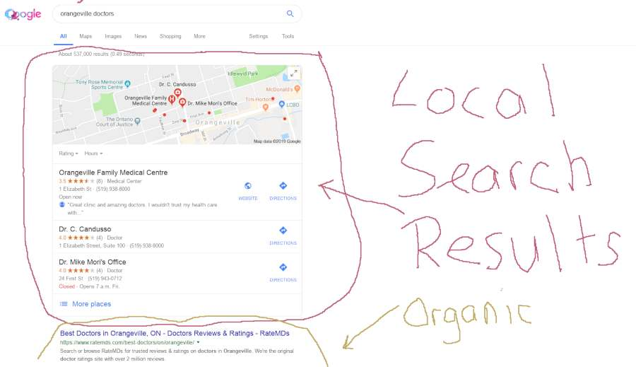 screenshot of google local search results for search term local doctors orangeville