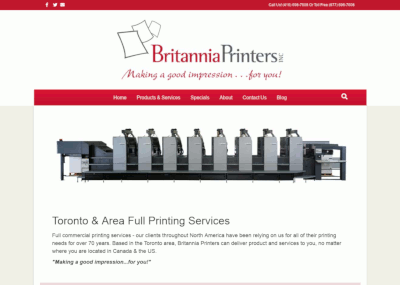 britannia printers website screen shot