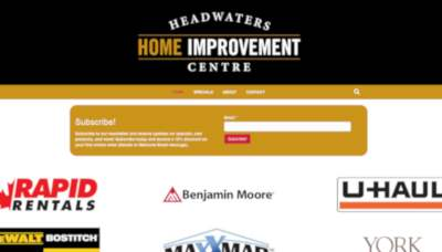 headwaters home improvement centre website screenshot