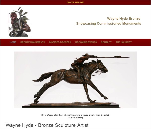 wayne hyde bronze website screenshot