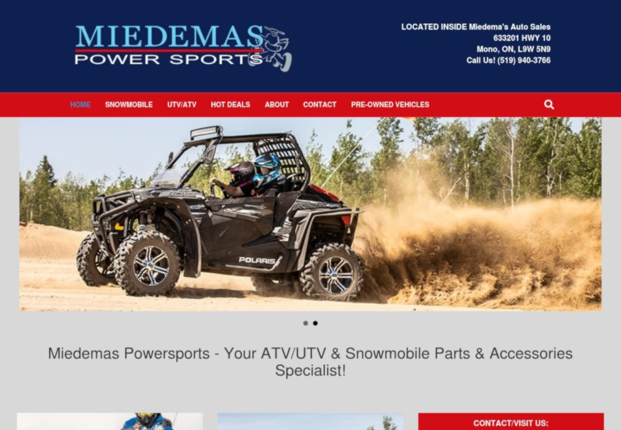 miedemas powersports website screenshot of home page