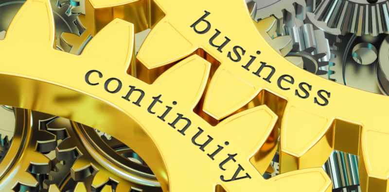 gears with the words business continuity overlayed